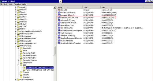 Modify the exchange 2003 SP2 default database size