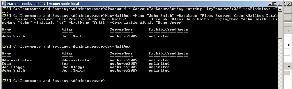 Create new mailboxes / AD objects using Powershell
