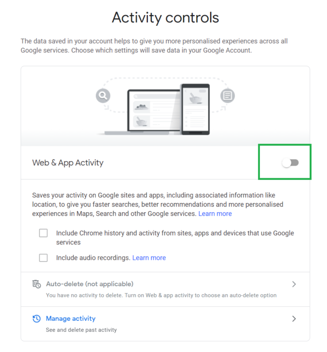 de-google your life by limiting google activity controls.