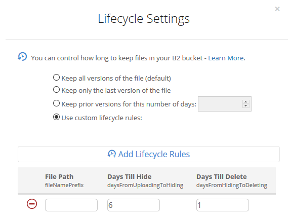 a lifecycle policy to delete objects older than 7 days.