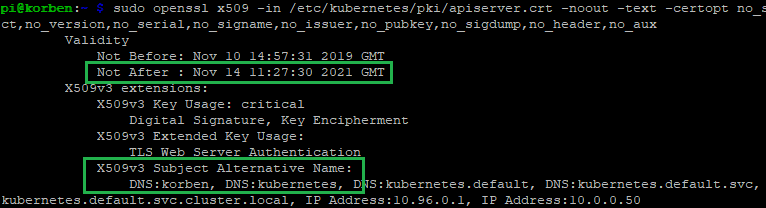 Renew Expired Kubernetes Certificates - checking new certificate details