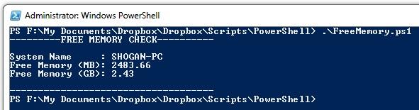 Powershell - Check Free Memory script - Shogan tech