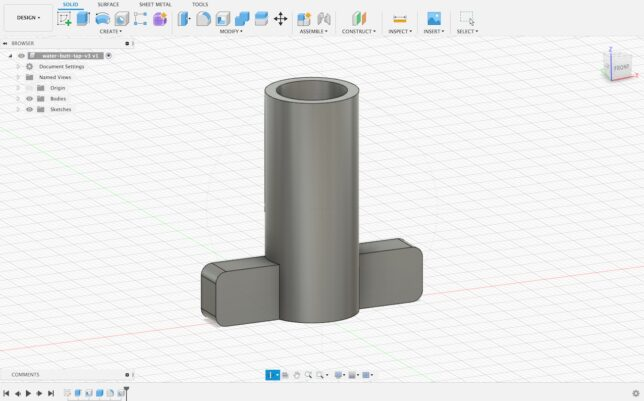water tap design perspective view from fusion 360