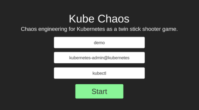 the kube chaos start screen