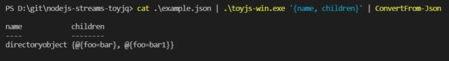 node.js stream transform example with PowerShell pipeline processing.