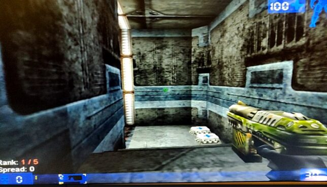 unreal tournament game running with a 3dfx voodoo 2 accelerator card.