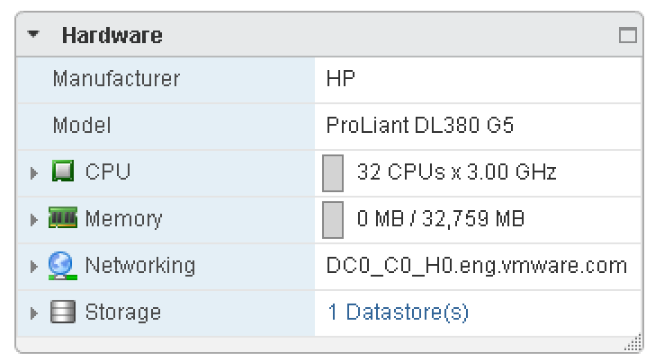 vSphere Web Client Host Hardware Summary