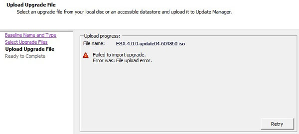 VMware VSphere Update Manager Upload Operation Fails With The